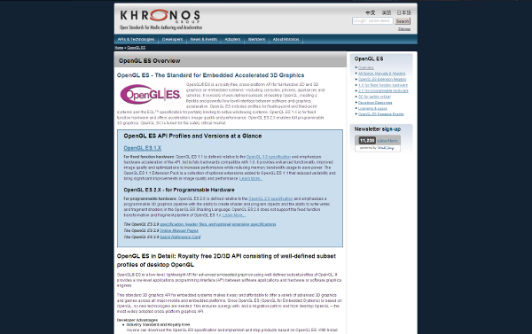 Visit Khronos Group web site about OpenGL ES !