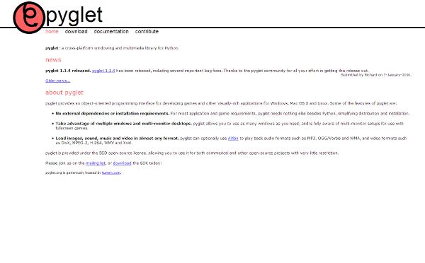 Visit pyglet python framework web site !