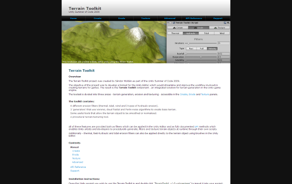 Read Six Times nothing's Terrain Toolkit documentation !